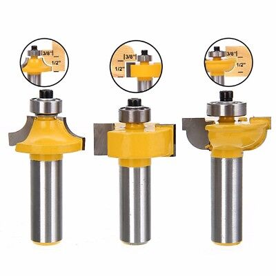 "3X Glass Door Router Bit Set Round Over Bead 1/2"" Shank Woodworking Cutter Tools"