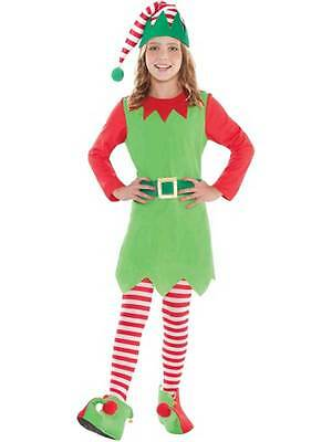 Girls Merry Elf Costume Child Christmas Santa's Little Helper Fancy Dress New