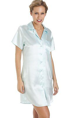 Camille Womens Ladies Luxurious Knee Length Mint Green Satin Nightshirt