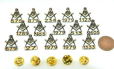 15 x MASONIC PERSONALISED LAPEL BADGES  WITH YOUR LODGE NUMBER  SPECIAL OFFER.