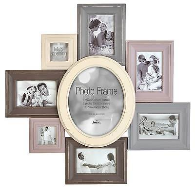 Shabby Chic Distressed MDF Multi Aperture Photo Picture Frame - Holds 8 Photos