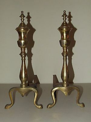Vintage Pair of Brass French Victorian Style Fireplace Andirons