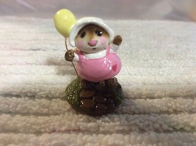 Wee Forest Folk mouse with yellow balloon
