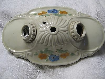 Ceiling Light Flush mount  Floral Porcelain Fixture 2 Bulb Ceramic Vintage