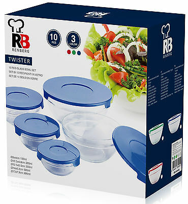Renberg 10 Piece Salad bowl Set With Red Blue or Green Lids