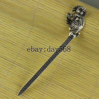 Chinese manual Retro collection old Tibetan silver Phoenix Hairpin N