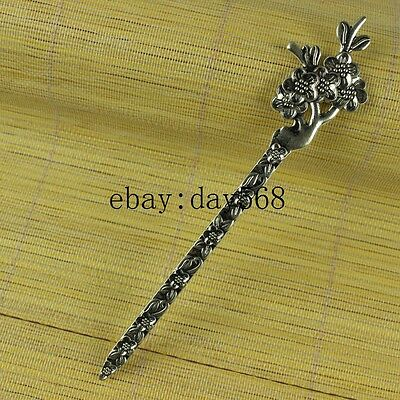62mm Chinese manual Retro collection old Tibetan silver Phoenix Hairpin A5