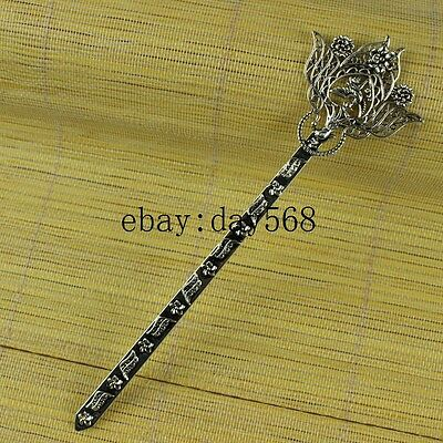 Chinese manual Retro collection old Tibetan silver Phoenix Hairpin A9