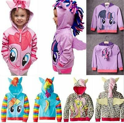 Girls Kids Toddler Hoodie My Little Pony Wing Cute Sweatshirt Coat Zip Jacket