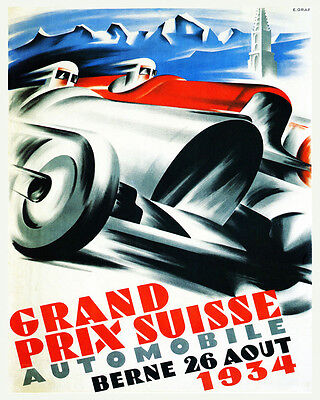Motorcycle Bike Race in Geneva Switzerland Sport 16 X 20 Vintage Poster FREE S//H