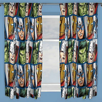 "MARVEL AVENGERS SHIELD 66"" x 54"" CURTAINS THOR HULK NEW BEDROOM"