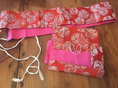 RED Silk BROCADE Gold Silver Thread Japanese OBI Floral Pattern 2 Pieces
