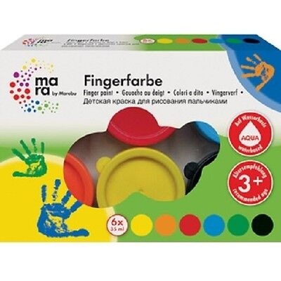 Marabu Fingerfarbe, 35 ml, 6er Set Kinderfarbe, Malfarbe Fingermalfarbe