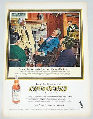 1959 Old Crow Bourbon Whiskey print ad- Mark Twain, Klaproths Tavern, Elmira NY