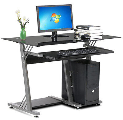 New Glass Top Computer Desk Keyboard Shelf Student Table For Home Office Black