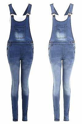 New Womens Buttoned Blue Pouch Pocket Denim Jeans Playsuit Dungaree Trousers