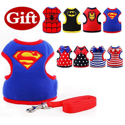 Adjustable Small Pet Dog Cat Harness with Leash Cartoon Puppy Soft Vest Harness