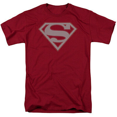 Superman CRIMSON & GRAY SHIELD Licensed Adult T-Shirt All Sizes