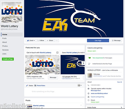 Facebook Page World Lottery