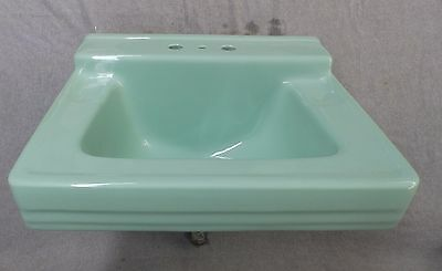 Vtg Mid Century Jadeite Green Porcelain Ceramic Bathroom Sink Standard 1737-16