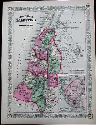 Palestine Israel Holy Land Arabia Syria Judea Bashan c.1865 antique folio map