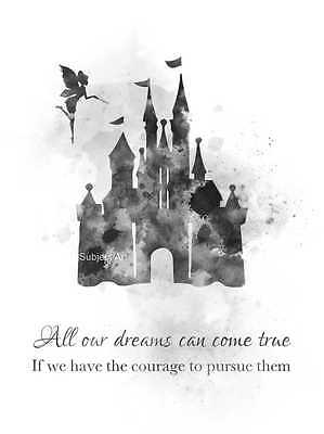 ART PRINT Disney Castle Quote illustration, Princess, Gift, Wall Art, B & W