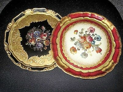 2 Pretty Embossed Floral Gold Black Red Italian Florentine Wood Tole Tray Plates