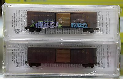 Z Scale MICRO-TRAINS LINE 510 44 140 NORFOLK SOUTHERN Weathered 50' Boxcar 2-Pk