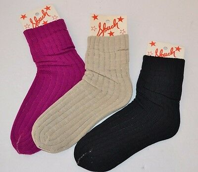 Vintage 1980's 3 Pairs SLOUCH Bunch Push Down SOCKS Purple Black Khaki One SIze
