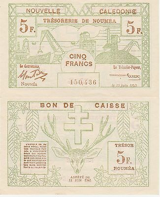 New Caledonia 5 Francs Banknote,1943 Choice About Uncirculated Condition Cat#58