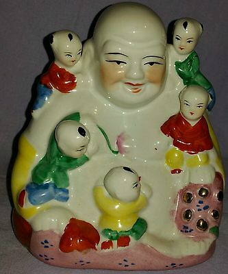 1930's Estate Sale Chinese Buddha With Children Hand Painted Statue