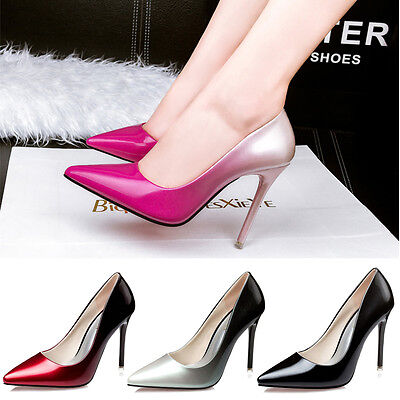 Patent Leather Pointed Toe Party Pumps Women Slim High Heel Stilettos Lady Shoes