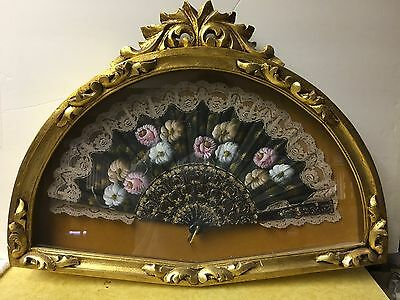 Antique/ Vintage Hand Painted Fan in Custom Shadowbox  Frame