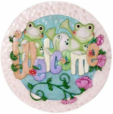 New 9.5 x 1 x 9.5 in Indoor/Outdoor Frog with Welcome Stepping Stone/Wall Plaque