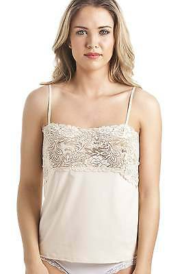 Camille Womens Ladies Underwear Sleepwear Beige Floral Lace Trim Camisole Top