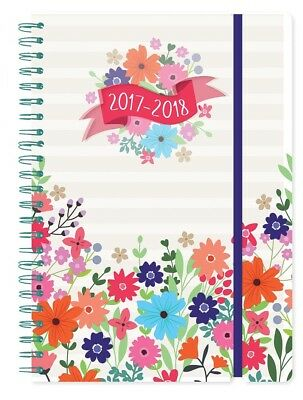 2017 2018 A5 Page A Day Spiral Bound Academic Student Diary - Abstract Floral