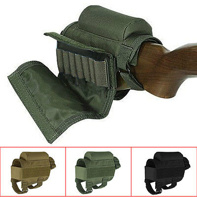 Portable Adjustable Tactical Butt Stock Rifle Cheek Rest Pouch Holder New