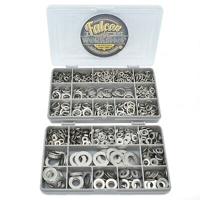 790 Assorted A2 Stainless M4 M5 M6 M8 M10 M12 Form A Flat / Spring Washers Kit
