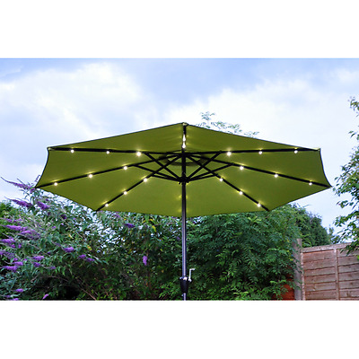 2.7m Deluxe Green Garden Parasol With Solar Powered LED Lights And Crank Handle