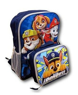 """Nickelodeon Paw Patrol  16"""" Canvas  School Backpack With Lunchbox Bag Combo Boy"""