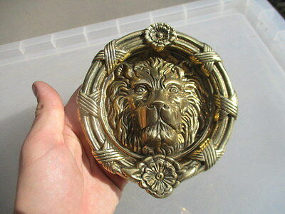 "Brass Lions Head Door Knocker Antique Georgian Style Wreath Flower 5.25""W"