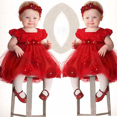 2PCS Newborn Baby Girl Princess Dress Lace Pageant Party Dresses Headband Set