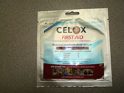 Celox First Aid Gauze Pad Blood Clotting Stop Bleeding Dressing Bandage 8""