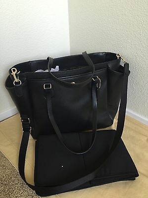 NWT COACH BLACK Multifunction Crossgrain Leather Diaper Baby Bag F57786