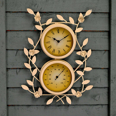 Shabby Chic White Metal Ornamental Floral Wall Clock Thermometer Indoor Outdoor