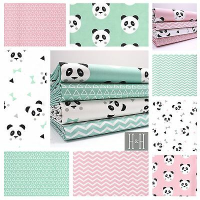 MINT or PINK PANDA LOVE - COTTON FABRIC -  ALSO JERSEY  metre / bundle / fq