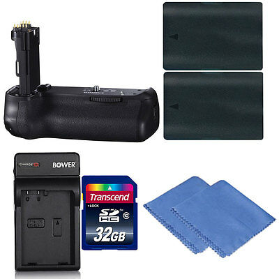 Battery Grip For Canon EOS 70D and 80D + 2 LP-E6 Batteries + Charger + 32GB Kit