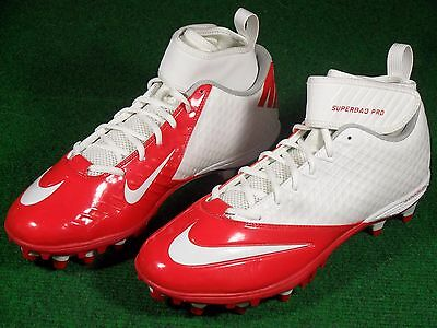 07a3f79f3a81 New Mens Nike Lunar Superbad Pro TD Football Cleats White Red Patriots  511334 ...