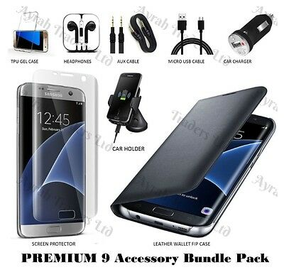 9 x Accessory Bundle Case Screen Protector Car Charger Kit For Samsung S6 Edge