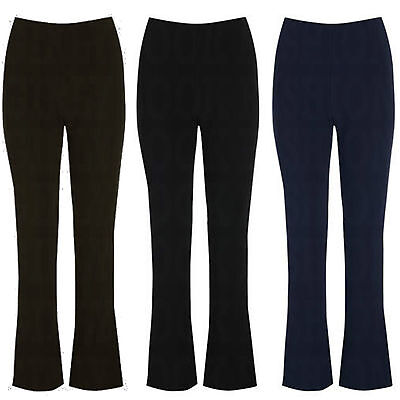 New Ladies Womens Bootleg Trousers Soft Stretch Pull On Office Pants Plus Sizes